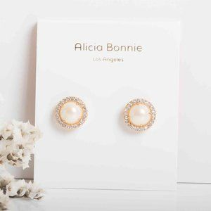 Alicia Bonnie The Real me gold Pearl earrings Pave